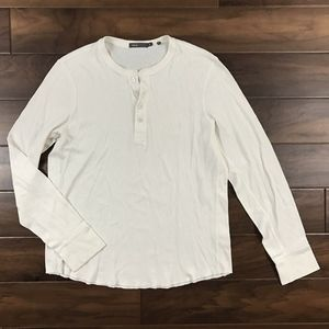 Vince Off White Waffle Knit Thermal Henley T Shirt